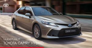 Ylellinen Toyota Camry Hybrid on nyt uudistunut.  Nauti sen päivitetystä muotoilusta, äly-yhteyksistä ja turvaominaisuuksista.