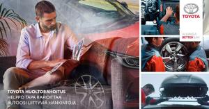Tarvitsetko autoosi lisävarusteita tai uuden rengassarjan vai määräaikaishuollon? Toyota Huoltorahoituksella hallitset mukavasti huollon, korjauksien, renkaiden ja lisävarusteiden kustannuksia. Halutessasi voit laskea kuukausierän ja hakea luottopäätöksen jo etukäteen osoitteessa toyota.fi/huoltorahoitus tai huoltovarauksen yhteydessä. Kysy lisää meiltä.