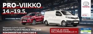Toyotan tavara-autojen eli Proacen ja Hiluxin PRO-Viikkoa vietetään meillä 14.5.-19.5. eli koko ensi viikko. Proace Pro Work -varustepaketti hyt hintaan 490 €: sisältää tavaratilan lattia- ja seinävaneroinnin sekä Nokian talvirenkaat teräsvantein Lisäksi erikoiserän autot nopealla toimituksella 1590 euron alennuksella. Lisäetu koskee rajoitettua erää pitkää 2.0D 120 4-ovisia tai 5-ovisia malleja. Lisäksi uuden Proacen tai Hiluxin koeajaneiden kesken arvomme 10 kpl rallipasseja kahdelle Neste Ralliin 26.-29.7.2018. Tervetuloa tutustumaan Toyotan kattavaan hyötyajoneuvomallistoon. Koeajettavat autot: Toyota Proace 2.0D 120 4-ovinen pitkä Toyota Hilux 2.4D 150 4WD Active Toyota Safety Sense-paketilla.