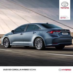 Nyt koeajossa myös Toyota Corolla 1.8 Hybrid Active Sedan-mallina ja Plus-paketilla varusteltuna. Uusi Corolla pitää todellakin ajaa, koska nyt on viety tämän kokoluokan ominaisuudet aivan uudelle tasolle. Corolla 1.8 Hybrid Active 4ov alkaen 28.595 €.