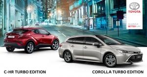 C-HR:n ja Corollan hyvin varustellut Turbo Edition -mallit ovat sekä ulkonäöltään että kyvykkyydeltään valioyksilöitä. Tarjoamme nyt rajoitetun erän Turbo Edition -malleja hyvään kampanjahintaan. Lisäksi Winter Pack C-HR Turbo Editioniin veloituksetta, kokonaisetusi jopa 3 700 € ja Corolla Turbo Editioniin hintaan 490 €, kokonaisetusi jopa 3 000 €. Tervetuloa tutustumaan!